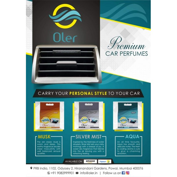 Oler Car Perfume - Aqua (Pack of 3) image