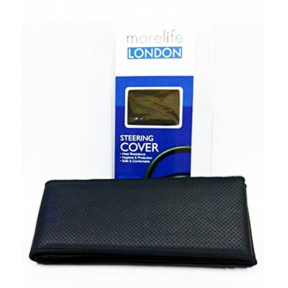 MoreLife London Black Stitch able steering Cover image